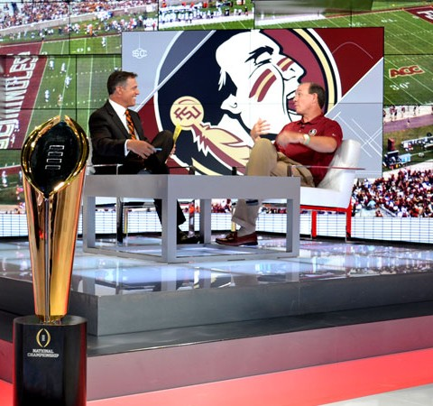 Florida State Head Coach Jimbo Fisher with the College Football Playoff Trophy on the SportsCenter set